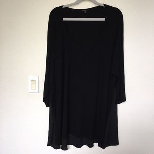 Torrid Mixed Media Black Hi-lo tunic top